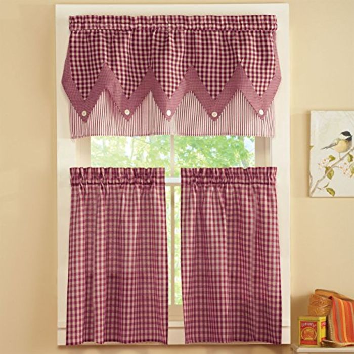Country Red Kitchen Curtains: Red Kitchen Accessories