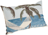 Tapestry Palm Hammock Beach/Nautical Throw Pillow