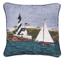 "Coastal Breeze Decorative Accent Pillow 17"" x 17"" USA Made"