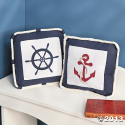 Anchors Away Nautical Embroidered Decorative Pillows Set of 2