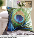 FablegentXH1 - Elegant Decorative Throw Pillow Cover - Peacock Feathers Design on Both Sides - Soft Velvet Fabric - R...