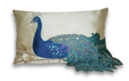 Thro by Marlo Lorenz 4183 Fancy Peacock 12 by 20-Inch Pillow, Multi