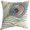 "16"" Square Throw Pillow, 16"", PEACOCK"