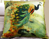 Fablegent Elegant Decorative Throw Pillow Cover - Peacock Design on Both Sides - Velvet Fabric - XH1