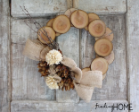 {findinghomeonline.com} Wood & Burlap Natural Fall Wreath