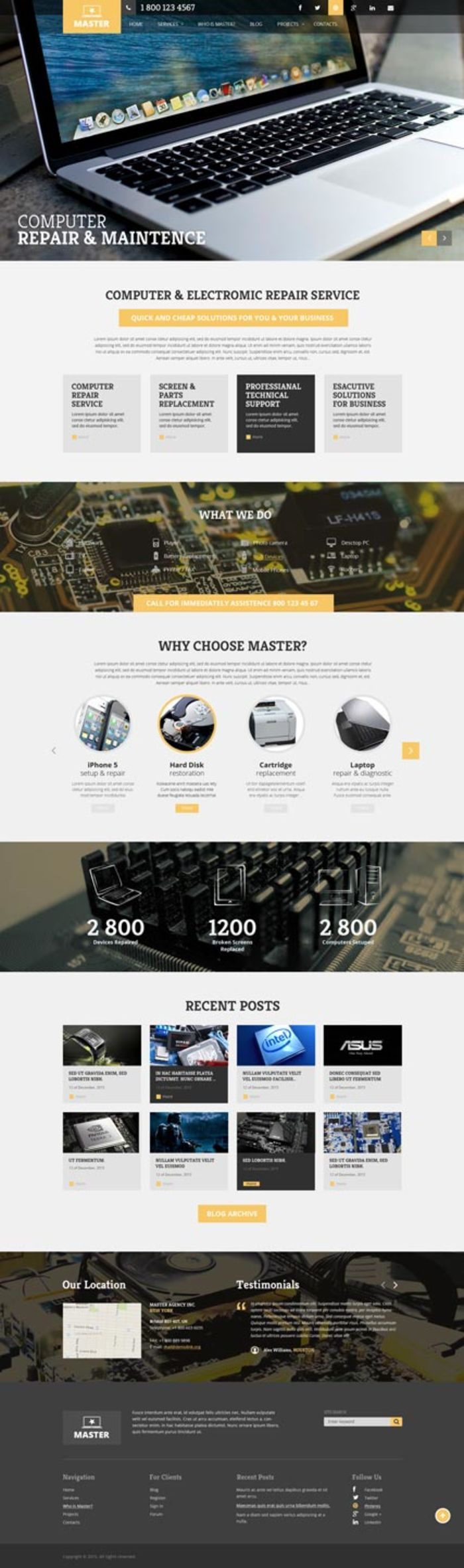 free computer repair website template 2018 08