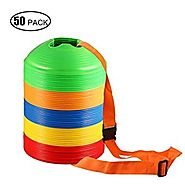 Kevenz Thicker Soft Soccer Discs Cones(12/25/50/100-Pack) (Yellow/Red/Green/Blue/Orange disc cone)
