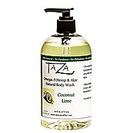 Best Natural Moisturizing Shower Gels - Top Picks for Dry Skin in 2017 | Taza Natural Omega-3 Hemp & Aloe Coconut Lime Body Wash