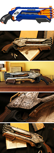 Custom Painted Nerf Gun, Steampunk or Gothic Victorian Shotgun, Vampire or Werewolf Hunter, like in The Order 1886 or...
