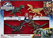 "Hot Toys For Christmas | Jurassic World 2015 Toy Set Velociraptor "" Delta"" Dinosaur 4 Pack Exclusive"