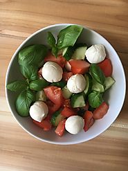 Tomato Mozzarella Salad with Cucumbers and Fresh Basil