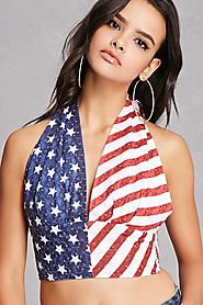 American Flag Halter Crop Top $35 @ Forever 21