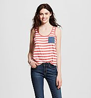 Women's Fifth Sun Americana Stripe and Star Pocket Graphic Tank $12.99 @ Target