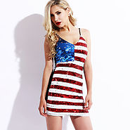 American Flag Mini Sequin Bodycon Dress $22.79 @ AliExpress