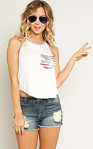 TIMING American Flag Print Pocket Tank $12.99 @ Styles For Less