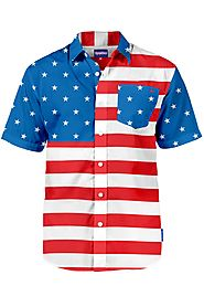 Men's American Flag Hawaiian Shirt $40 @ Tipsy Elves