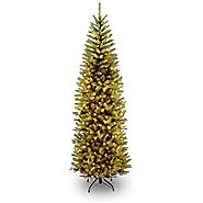 National Tree 7.5 Foot Kingswood Fir Pencil Tree with 350 Clear Lights, Hinged (KW7-300-75)