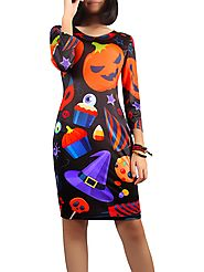 Halloween Jack-O-Lantern Print Dress @ DressLily