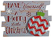 Rustic Wood and Metal Holiday Sign Hanging Christmas Decoration (Ornament)