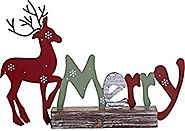 Festive Wood and Metal Holiday Standing Sign Christmas Decoration (Merry)