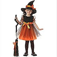 METFIT Toddler Kids Baby Girls Halloween Clothes Costume Dress Party Dresses+Hat Outfit