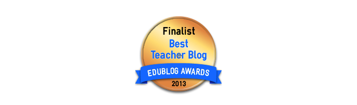 Headline for Best Teacher Blog 2013 - Edublog Awards