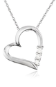 Heart Shaped Diamond Necklaces for Women | 10k White Gold and Diamond Three-Stone Heart Pendant Necklace (0.1 cttw, I-J Color, I2-I3 Clarity), 18""