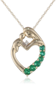 Heart Shaped Diamond Necklaces for Women | XPY 14k Yellow Gold Mother and Child Created Emerald Heart Pendant Necklace with Diamond Accent, 18""