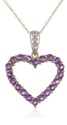 Heart Shaped Diamond Necklaces for Women | 10k Yellow Gold Heart Shaped Amethyst Pendant with Diamond-Accent