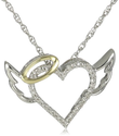 Heart Shaped Diamond Necklaces for Women | XPY Sterling Silver and 14k Yellow Gold Diamond Winged Halo Heart Pendant Necklace, 18""