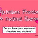 FREE Equivalent Heart Fractions and Decimals SMART BOARD Game