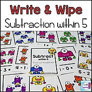 Subtraction Write and Wipe: Subtraction within 5 by Mercedes Hutchens