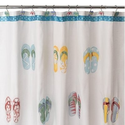 Flip Flop Bathroom Decorations | FLIP FLOP beach bath SHOWER CURTAIN Embroidered - Flip Flop Shower Hook