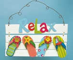 Flip Flop Bathroom Decorations | Relax Tropical Sign Flip Flops, Beach & Nautical Accent. Powered by RebelMouse