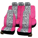 Car Seat Covers Universal Fit | Pink Striped Zebra Car Seat Covers