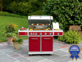 Throw a Summer Olympics Dream Party (Dreamy Backyard) #SummerWithSears, #SearsPatio, #GrillingIsHappiness | 5-Burner Gas Grill with Ceramic Searing and Rotisserie Burners - Red- Kenmore-