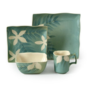 Gibson Spring Grove 16-Piece Square Reactive Glaze Stoneware Dinnerware Set, Teal Green