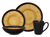 Reactive Glaze Dinnerware Reviews | Gibson Bonham 16-Piece Reactive Glaze Stoneware Dinnerware Set, Amber