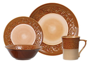Gibson Villa Adriana 16-Piece Reactive Stoneware Dinnerware Set, Brown