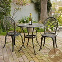 Best Cast Aluminum Outdoor Patio Bistro Furniture Sets | Cast Aluminum Patio Furniture: CHRISTOPHER KNIGHT HOME ANGELES 3-PC COPPER BISTRO TABLE/CHAIRS SET WITH ICE BUCKET fo...