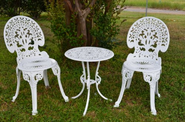 Best Cast Aluminum Outdoor Patio Bistro Furniture - Conversation Sets | Angle White Garden Bistro Set - Table and Two Chairs for Yard, 3 Pieces Product SKU: PB11118