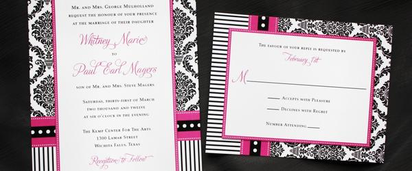 Best Black and Pink Wedding Invitations 2014