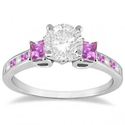 Princess Cut Diamond and Pink Sapphire Engagement Ring 14k W Gold (0.68ct)