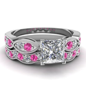 1.25 Ct Princess Cut Diamond & Pink Sapphire 14K Gold Wedding Rings Set E-Color GIA Certified # 5151267693