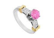 Princess Cut Diamond and Pink Sapphire Engagement Ring in 14K Two Tone Gold 1.00 Carat TGW