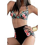 Best H&m High Waist Swimsuit-Swimwear-Bikini & Bathing Suits Reviews 2016 | Zmart Women's Two Pieces High Waist floral Print Bikini Swimsuit