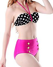 Best H&m High Waist Swimsuit-Swimwear-Bikini & Bathing Suits Reviews 2016 | HDE Women Vintage 50s Pinup Girl Rockabilly High Waist Retro Bikini Swimsuit Set
