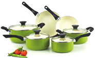 Best Budget Cookware Sets Reviews and Ratings 2014 | Cook N Home NC-00358 Nonstick Ceramic Coating PTFE-PFOA-Cadmium Free 10-Piece Cookware Set, Green