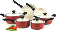 Best Budget Cookware Sets Reviews and Ratings 2014 | Cook N Home NC-00359 Nonstick Ceramic Coating PTFE-PFOA-Cadmium Free 10-Piece Cookware Set, Red