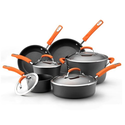 Best Budget Cookware Sets Reviews and Ratings 2014 | Rachael Ray Hard Anodized II Nonstick Dishwasher Safe 10-Piece Cookware Set, Orange